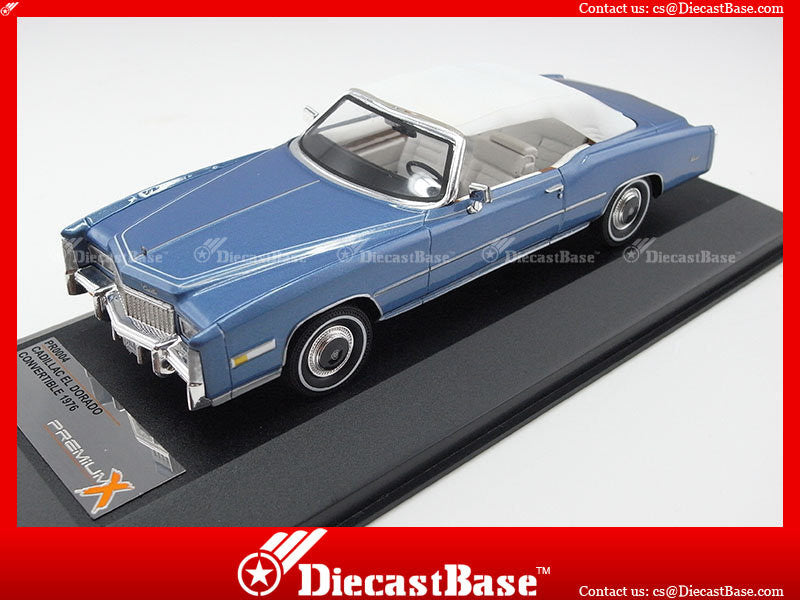 Premium X PR0004 1/43 Cadillac Eldorado Closed Convertible 1976 Mettalic Blue with White Interiors 1:43 Diecast Model Road Car