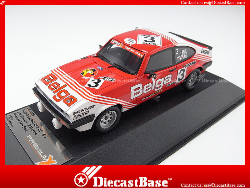Premium X PR0009 1/43 Ford Capri III 3.0S (BELGA) No.3 Winner 24H Spa 1980 J.-M.Martin - P.Martin 1:43 Diecast Model Racing Car