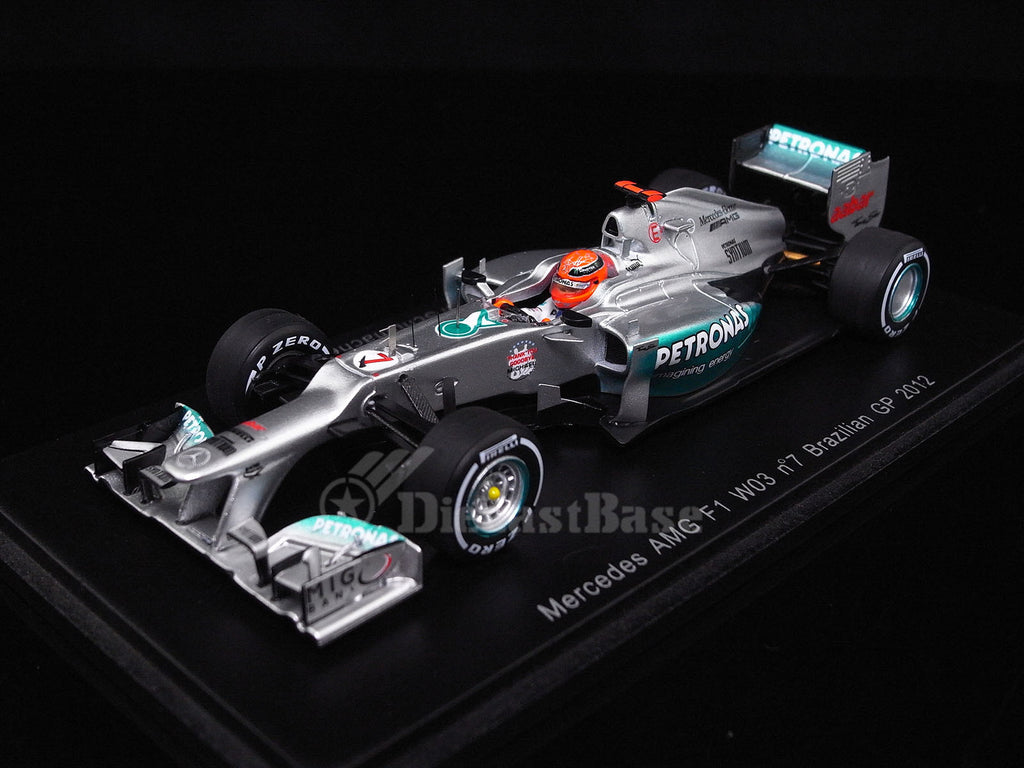 Spark S1009 1/43 Mercedes AMG F1 W03 No.7 Brazilian Grand Prix 2012 Mercedes AMG Petronas F1 Team Last Race Michael Schumacher Resin Models F1 GP Racing Car