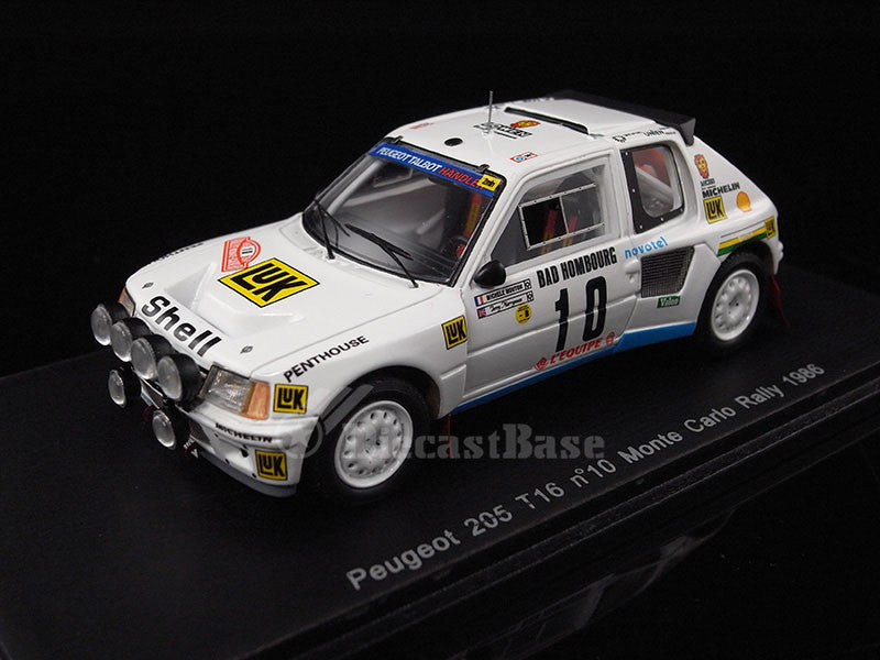 Spark S1287 1/43 Peugeot 205 Turbo 16 No.10 Monte Carlo Rally 1986 Michele Mouton - Terry Harryman T16 Resin Models Racing Car