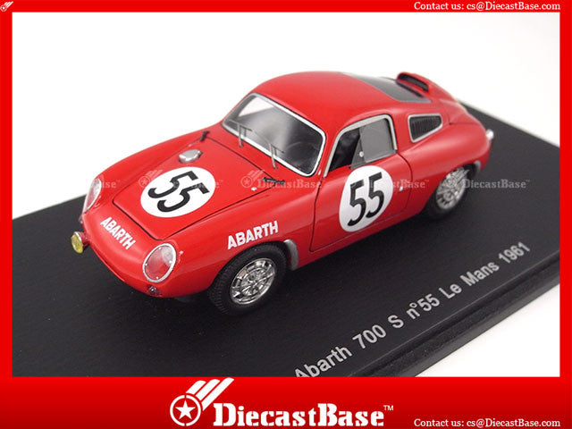 Spark S1334 1/43 Abarth 700 S No.55 Le Mans 1961 P.Condrillier - K.Foitek 1:43 Diecast Model LM Racing Car