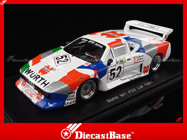Spark S1583 1/43 BMW M1 No.52 Le Mans 1981 M.Surer - D.Deacon - D.Quester 1:43 Diecast Model LM Racing Car