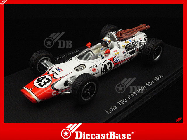 Spark S2391 1/43 Lola T90 #43 Bowes Seal Fast Team 6th Indianapolis 500 1966 Jackie Stewart Spark Models Diecast Model Indy Racing Car
