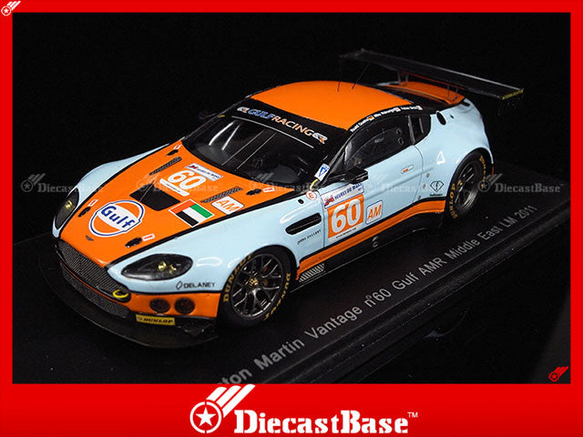 Spark S2545 1/43 Aston Martin Vantage No.60 Gulf AMR Middle East Le Mans 2011 F.Giroix - M.Wainwright - R.Goethe 1:43 Diecast Model LM Racing Car