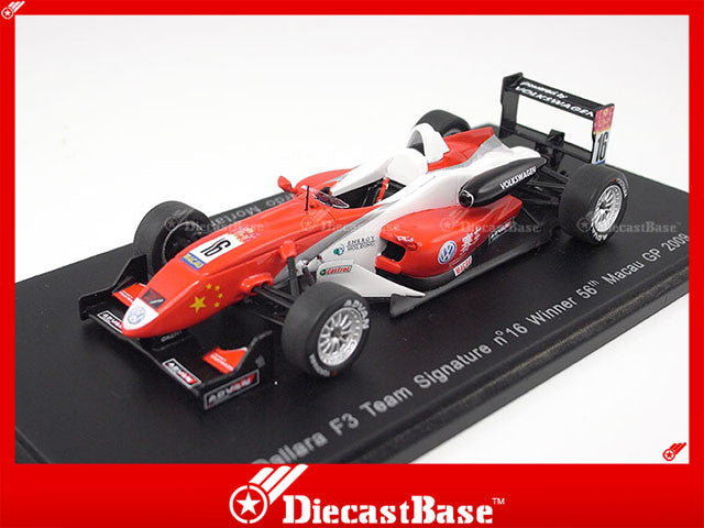 Spark S2999 1/43 Dallara F3 Team Signature No.16 Winner 56th Macau Grand Prix 2009 Edoardo Mortara 1:43 Diecast Model GP Racing Car