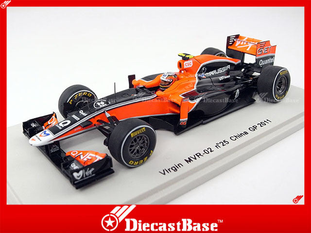 Spark S3015 1/43 Virgin MVR-02 No.25 Chinese Grand Prix Formula 1 2011 Jerome D'Ambrosio 1:43 Diecast Model GP F1 Racing Car