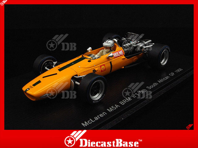 Spark S3123 1/43 McLaren M5A BRM #1 Team Bruce McLaren Motor Racing 5th South African Grand Prix 1968 Denny Hulme Spark Models Diecast Model F1 GP Racing Car