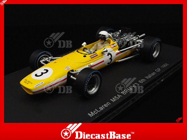 Spark S3124 1/43 McLaren M5A BRM #3 Joakim Bonnier Racing Team 6th Italian Grand Prix 1968 Jo Bonnier Spark Models Diecast Model F1 GP Racing Car
