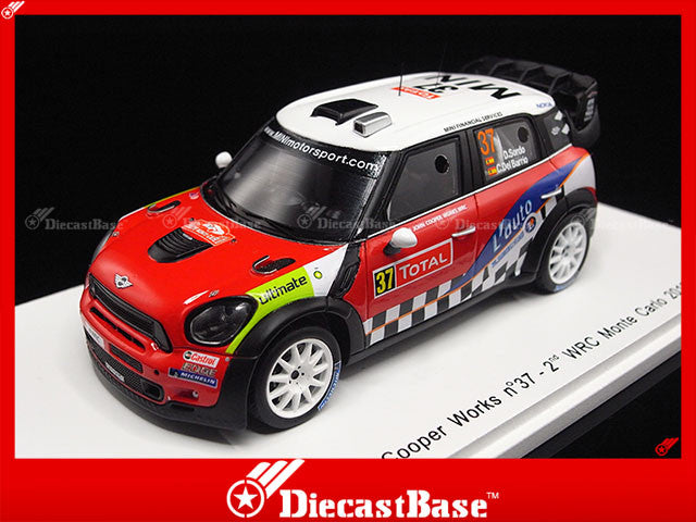 Spark S3312 1/43 Mini John Cooper Works No.37 2nd WRC Monte Carlo Rally 2012 D.Sorbo - C.Del Barrio 1:43 Diecast Model Racing Car