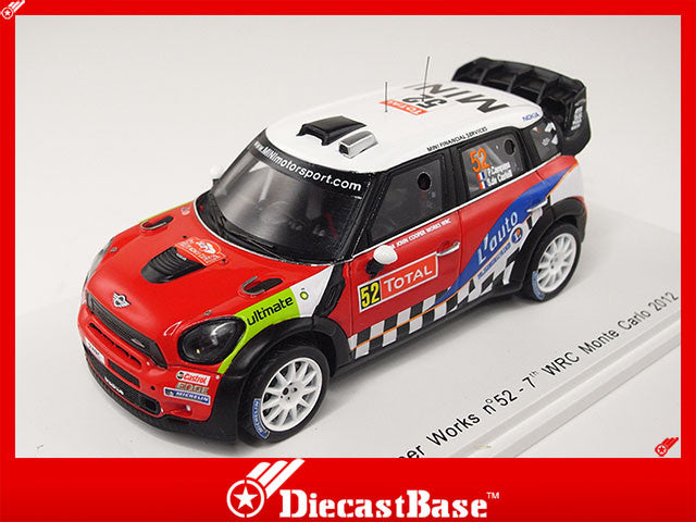 Spark S3350 1/43 Mini John Cooper Works No.52 7th WRC Monte Carlo Rally 2012 P.Campana - S.De Castelli 1:43 Diecast Model Racing Car