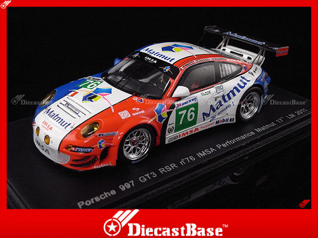 Spark S3417 1/43 Porsche 997 GT3 RSR No.76 IMSA Performance Matmut 17th Le Mans 2011 R.Narac - P.Pilet - N.Armindo 1:43 Diecast Model LM Racing Car