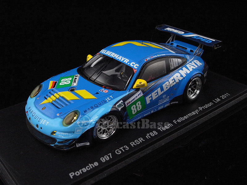 Spark S3420 1/43 Porsche 997 GT3-RSR No.88 24 Hours of Le Mans 2011 LMGTE Pro Class Team Felbermayr-Proton Nick Tandy - Abdulaziz Al-Faisal - Bryce Miller Resin Models LM Racing Car