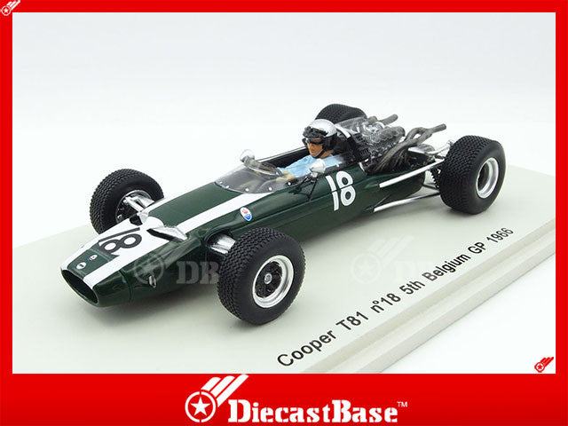 Spark S3518 1/43 Cooper T81 #18 5th Belgian Grand Prix 1966 Cooper Car Company - Richie Ginther Spark Models Diecast Model F1 GP Racing Car
