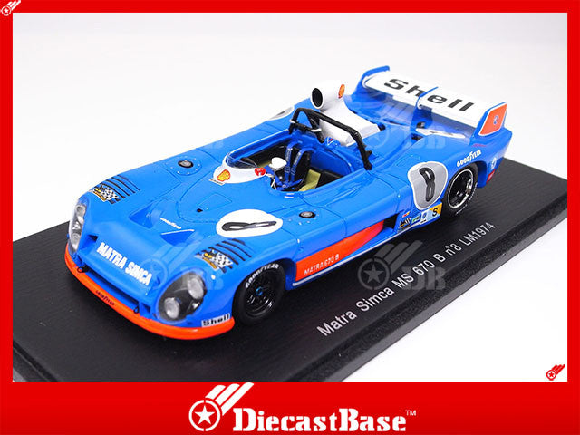 Spark S3553 1/43 Matra Simca MS 670 B No.8 24 Hours of Le Mans 1974 Équipe Gitanes Team Jean-Pierre Jaussaud - Bob Wollek - José Dolhem Resin Model LM Racing Car