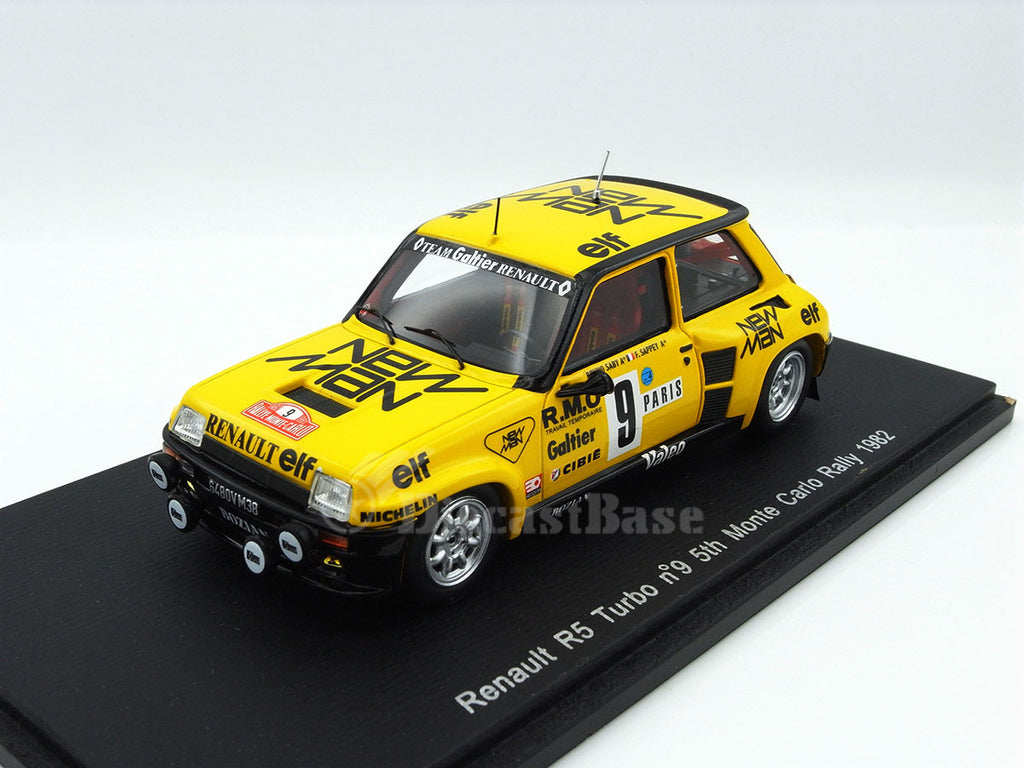 Spark S3854 1/43 Renault 5 Turbo #9 5th Rallye Monte Carlo 1982 Garage Galtier - Bruno Saby - Françoise Sappey Resin Model Rally Racing Car