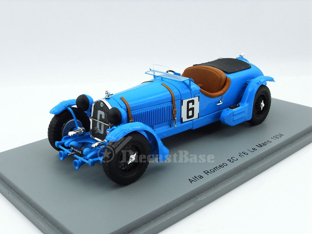 Spark S3887 1/43 Alfa Romeo 8C 2300LM #6 24 Hours of Le Mans 1934 3.0 Class Lord Howe Team Lord Howe - Tim Rose-Richards Resin Models LM Racing Car