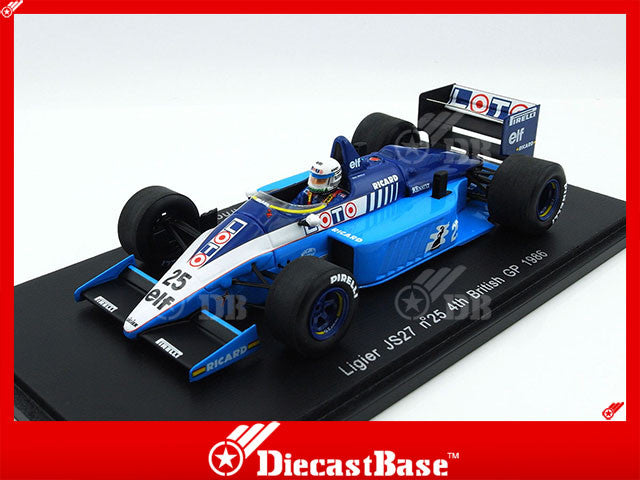 Spark S3971 1/43 Ligier JS27 #25 4th British Grand Prix 1986 Ligier-Renault Team - Rene Arnoux Resin Model Formula One F1 GP Racing Car