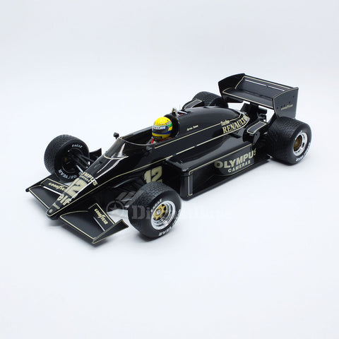 Premium X SENR18001 1/18 Lotus Renault 97T #12 Winner Portuguese Grand Prix 1985 JPS Team Lotus - Ayrton Senna First F1 Win Resin Model Racing Car