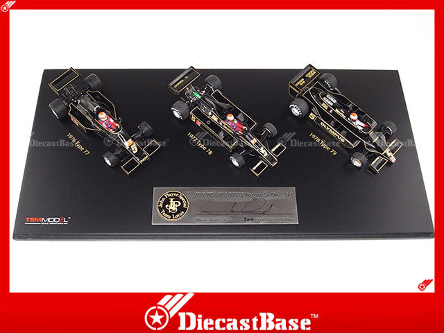 TSM TSM11SS3 1/43 John Player Special JPS Team Lotus F1 Triple Cars Set Type 77 78 79 Signed by Mario Andretti TrueScale Miniatures Model Diecast Resin Racing Car