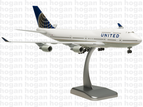Hogan Wings 4937 1/200 United Airlines UA UAL BOEING 747-400 Plastic Snap-Fit Model Commercial Aircraft Civil Aviation