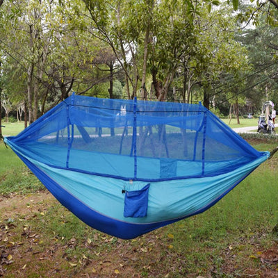 Single Person Portable Parachute Fabric Mosquito Net Hammock for Indoor Outdoor Use