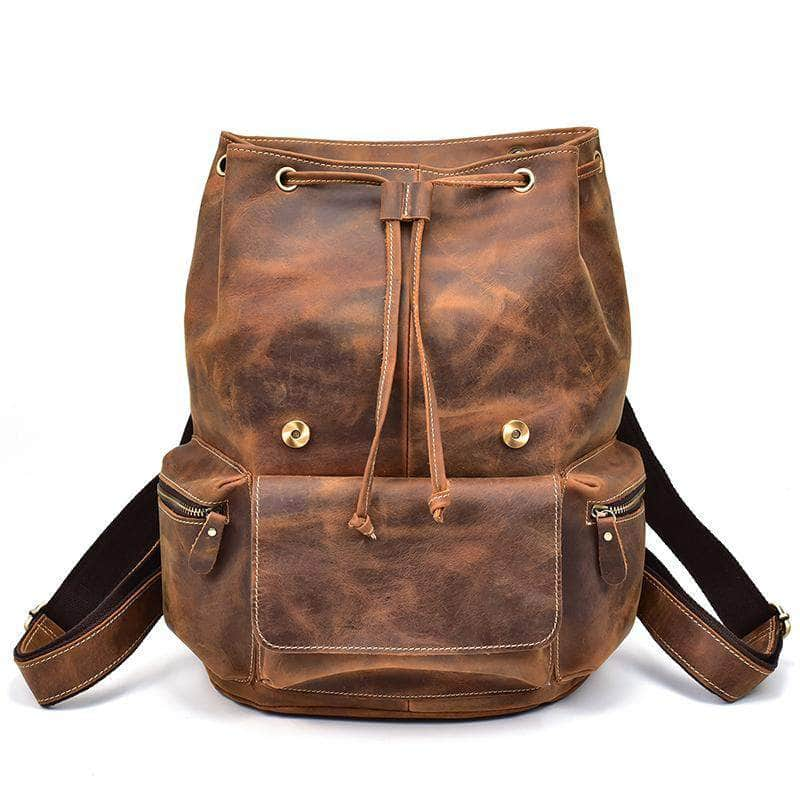 THT Traditional Brown Genuine Leather Backpack