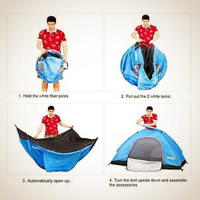 2 Man Tent ,  Lightweight instant Automatic Tent, Waterproof Windproof, UV Protection - The Happy Tourist LTD