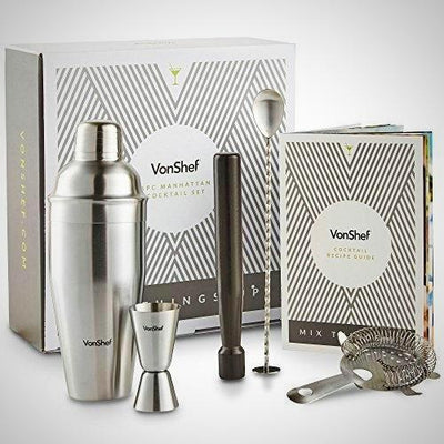 Vonshef 5 Piece Cocktail Set Luxury Manhattan Stainless Steel Shaker Kit Gift Box Accessories