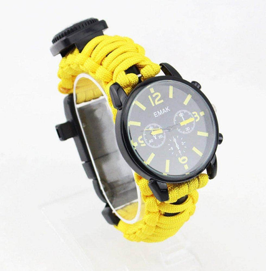 Outdoors Survival 6-in-1 Multifunction Bracelet Watch with Paracord Whistle Compass