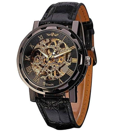 Skeleton Dial Hand-Wind Up PU Leather Mechanical Wrist Watch