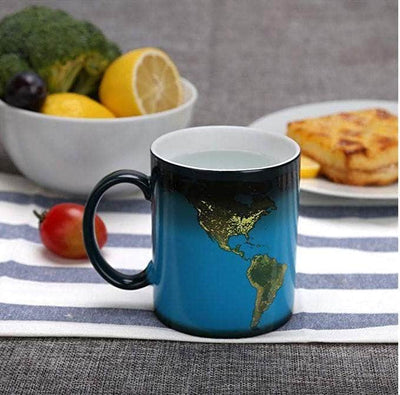 Heat Sensitive Coffee Cup Solar System and World Map Travel Mug with Thermo Graphic Ink