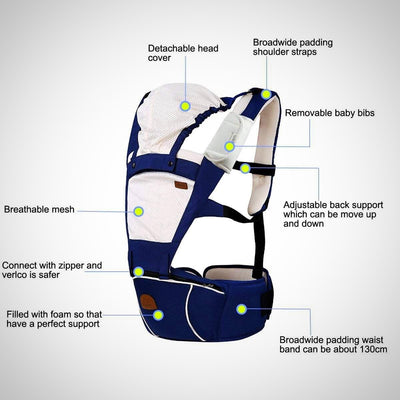 New Style Baby Carrier Hipseat 5 Carry Ways Approved by Safety Standards - The Happy Tourist LTD