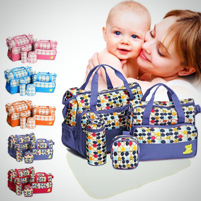Baby Changing Diaper Nappy Bag Mummy Mother Handbag 5 Pcs - The Happy Tourist LTD