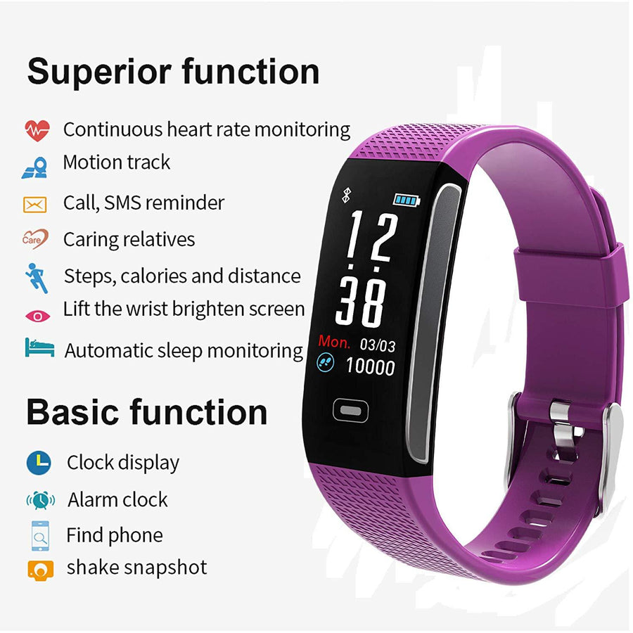 Fitness Trackers with 7 Sports Mode Pedometer Heart Rate Blood Pressure Monitor