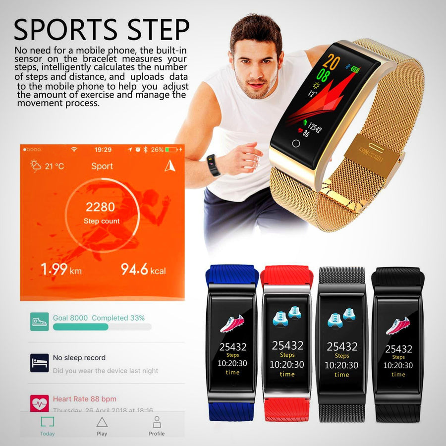 Fitness Tracker,Heart Rate Monitor Smart Bracelet Activity Tracker - The Happy Tourist LTD