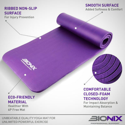 Large Padded Exercise Yoga Mat with Carry Handles - The Happy Tourist LTD