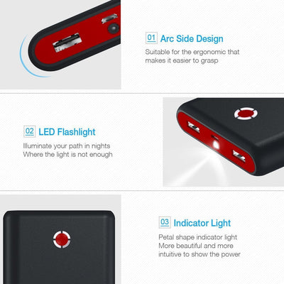 Pilot X7 20,000mAh Portable Universal External Power Bank, Red-Black - The Happy Tourist LTD