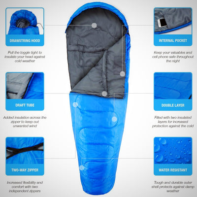 Professional 300 Mummy Sleeping Bag 3-4 Season for Camping, Hiking, Outdoors - The Happy Tourist LTD