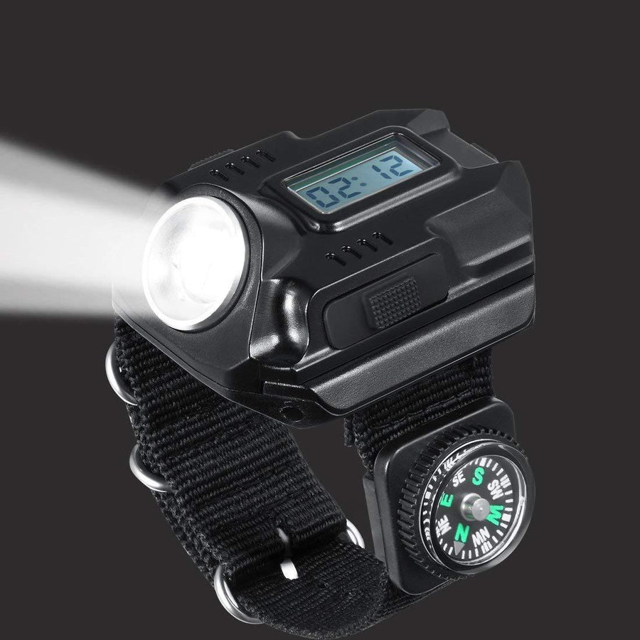Rechargeable Waterproof LED Flashlight Wristlight Survival Watch - The Happy Tourist LTD