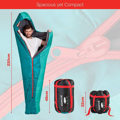 Mummy Sleeping Bag 3-4 Season Extra Warm & Lightweight Compact Waterproof Heat Control System