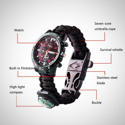 6 in 1 Survival Bracelet Watch, Men & Women Outdoor Emergency Military Sport Watch - The Happy Tourist LTD