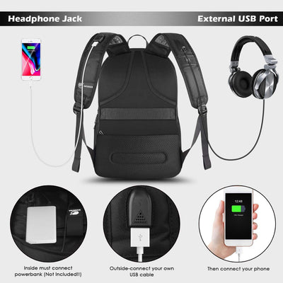 Travel Laptop Backpack, Large Water Resistant Computer Rucksack with USB Charging