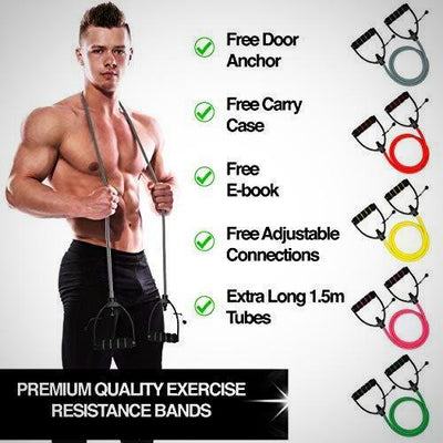 Workout Toning Heavy Fitness Tube Resistance Bands Cord for Exercise Fitnes - The Happy Tourist LTD