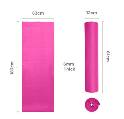 Sports Yoga Mat 6mm Soft Non Slip With CARRY Bag and Straps Extra - The Happy Tourist LTD