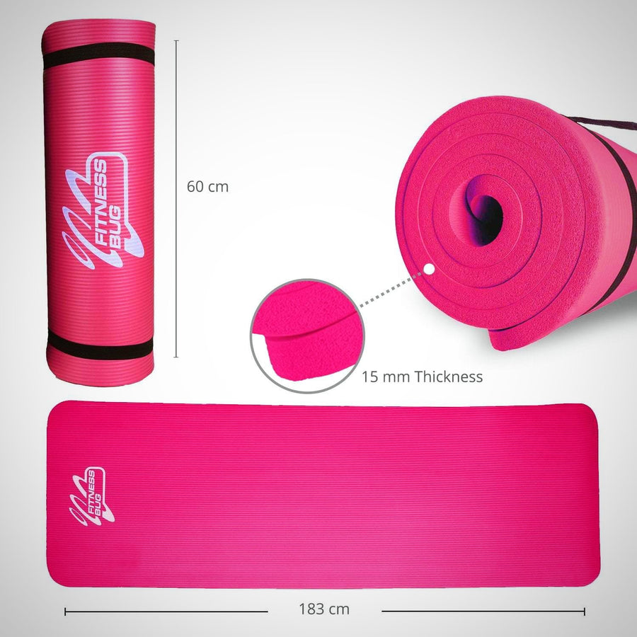 Yoga Mat with Carry Handle Pilates Gym Fitness Exercise 15mm