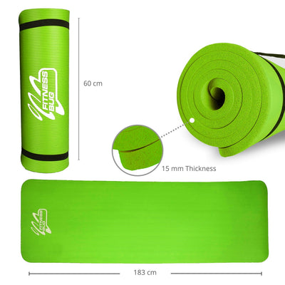 Yoga Mat with Carry Handle Pilates Gym Fitness Exercise 15mm - The Happy Tourist LTD