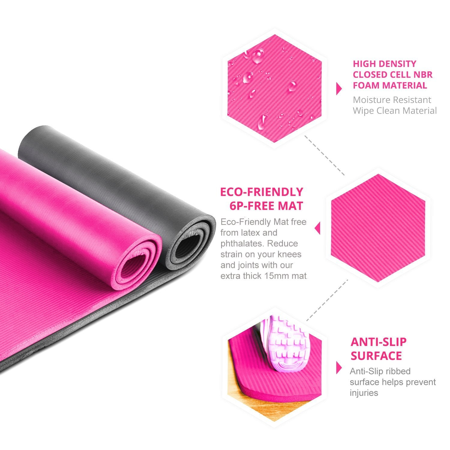 Eco-Friendly NBR Yoga Mat with Carry Handle Pilates
