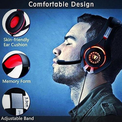 Beexcellent Comfort Noise Reduction Crystal Clarity Gaming Headset 3.5mm LED New