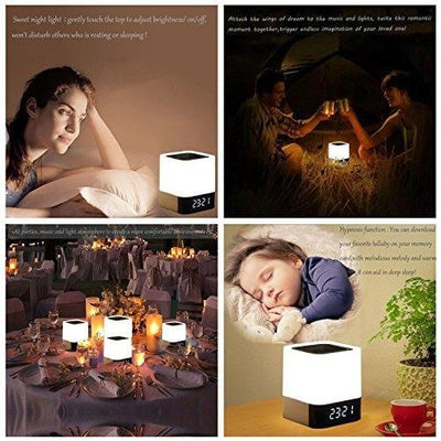 MUSKY Wireless Bluetooth Speaker Touch Control Bedside Lamp Alarm Clock MP3 New