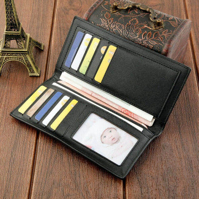 Men's Bifold Leather Breast Pocket Card Holder Suit Purse Long Wallet Checkbook